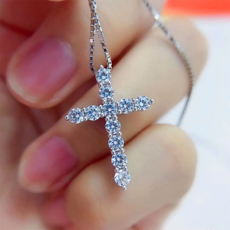 Luxury Female Big Cross Pendant Necklace Fashion Bride Wedding Necklace For Women Classic Silver Color Zircon Stone Necklace