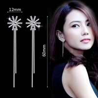 Fashion Shiny 925 Sterling Silver Crystal Sunflower Long Tassel Drop Earrings For Women  Simple Jewelry Valentine's Birthday Gif 2