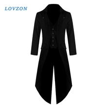 LOVZON Men Vintage Suit Jacket Long Tuxedo Vintage Steampunk Retro Tailcoat Single Breasted Gothic Victorian Frock Coat Cosplay