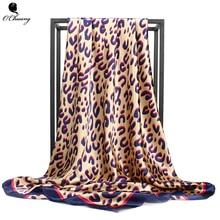 Silk Scarf Bandana Fashion Women Printed Head Scarf Leopard