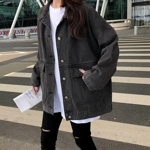 2 colors Women's casual Jean Coats 2019 autumn Women loose Denim Jacket Long Sleeve Loose Female Girls Outwear (78228) 1