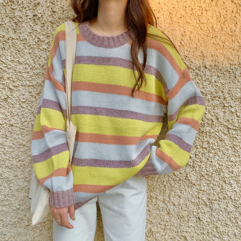 2 Colors Korean Style Warm Knitted Sweater Women Autumn Winter Rainbow Stripe Sweaters And Pullovers Womens (C9360)