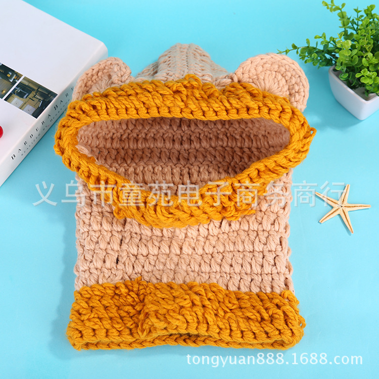 2019 new autumn and winter animal hats awning lion handmade hat children warm scarf neck hat in Hats Caps from Mother Kids