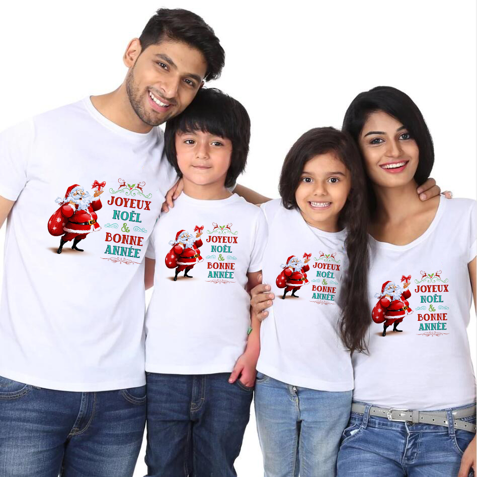 1pc Joyeux Noel And Bonne Annee Christmas Family Look White Tshirt Boy Girls And Parents Family Look Matching T-shirts Babe Cute