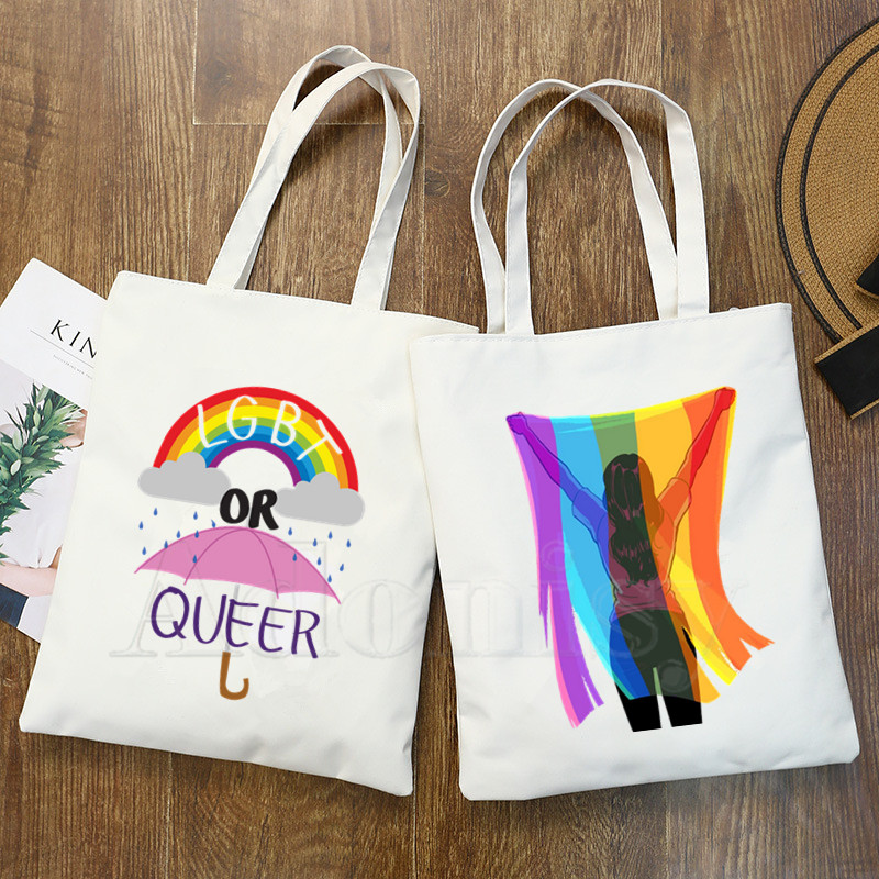 Gay Pride Lesbian Rainbow Lgbt Love Is Love Lgbt Canvas Simple Cartoon Print Shopping Girls Fashion Life Casual Pacakge Hand Bag
