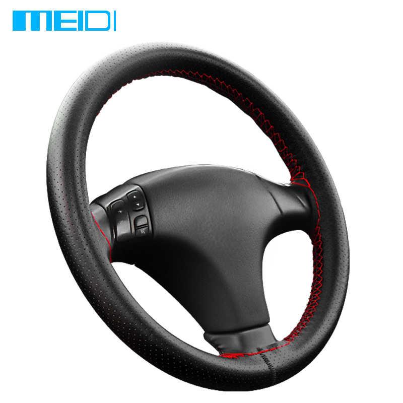 Meidi Auto Stuurwiel Covers Past Buitendiameter Van 37-38 Cm Diy Lederen Gevlochten Op De Steering -Wiel Van Auto