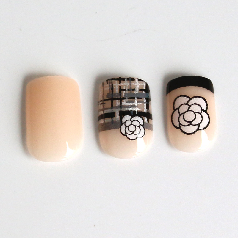 Manufacturers Direct Selling Quality Currently Available Nail Sticker 24 + 6-Piece Light Flesh Color Geometry Rose Set Wear Nail