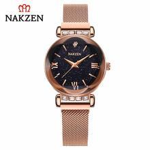 Nakzen класса люкс Для женщин часы Топ кварцевые наручные Нержавеющаясталь