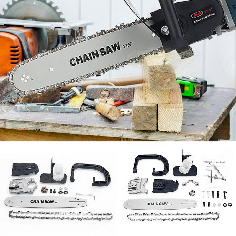 11.5 Inch Chainsaw Bracket Electric Angle Grinder To Chainsaw Converter Chain Saw Woodworking Power Tool Set