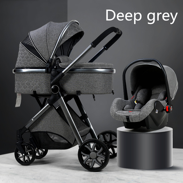 Carrinho de bebê de luxo 3 em 1, carrinho de bebê dobrável de couro com moldura de alumínio da paisagem de alta qualidade com presentes para carrinho de bebê 4
