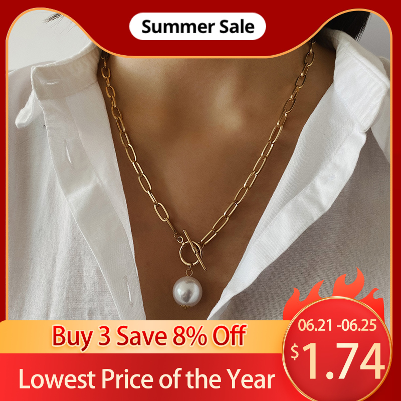 Gothic Baroque Pearl Pendant Choker Necklace for Women Wedding Punk Big Bead Lariat Gold Color Long Chain Necklace Jewelry