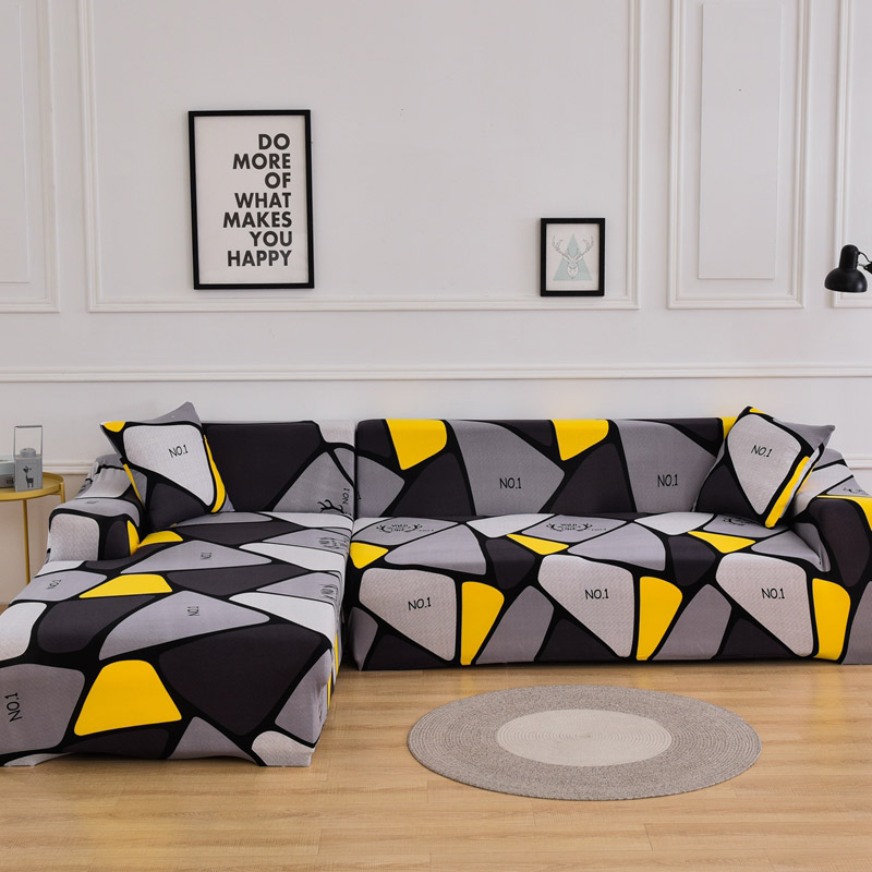 Couch Cover Set for Living Room in L Shaped without Corner Wrapped Made of Polyester and Spandex Fabric 5
