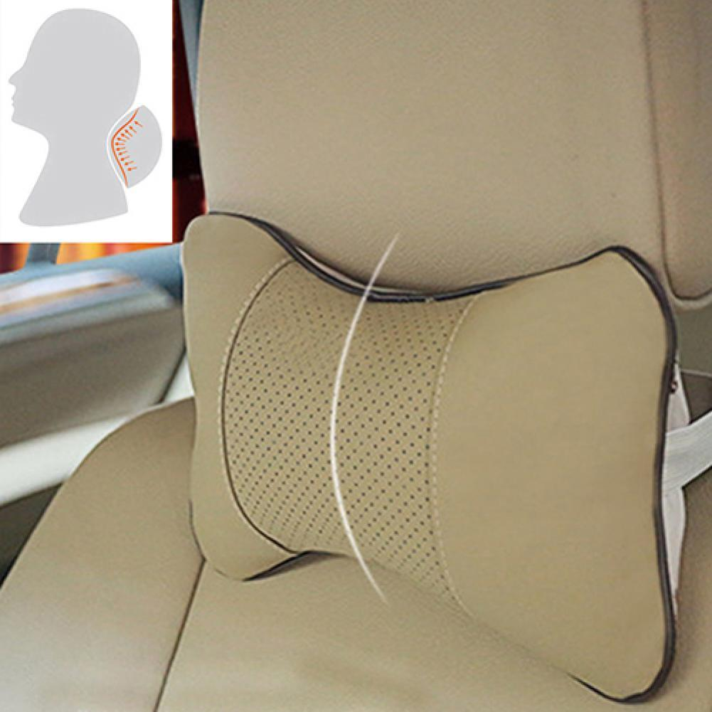 1 Pc Faux Leather Hole-digging Car Headrest Supplies Neck Auto Safety Pillow