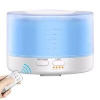 500Ml Ultrasonic Aroma Umidificador de Ar Com 7 Cor de Controle Remoto Levou Luzes Elétrico Aromaterapia Aroma do Óleo Essencial Difusa|Umidificadores| |  -