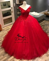 2019 Fashion Corset Quinceanera Dresses Off Shoulder Red Tulle Formal Party Gowns Sweetheart Sequined Appliques Lace Ball Gown