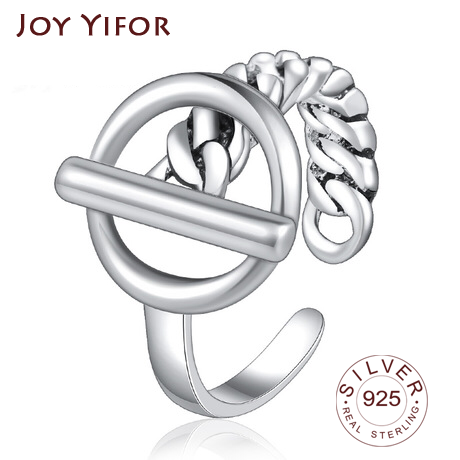 S925 Sterling Silver Ring Jewelry Hot Sale Personality Tide Opening Wide And Narrow Ring Style Fashion Popular Simple Smoo