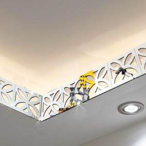 30PCS 5*5CM 3D Wall Decor Mirror Sticker DIY Waist Line Room Decoration Acrylic Wall