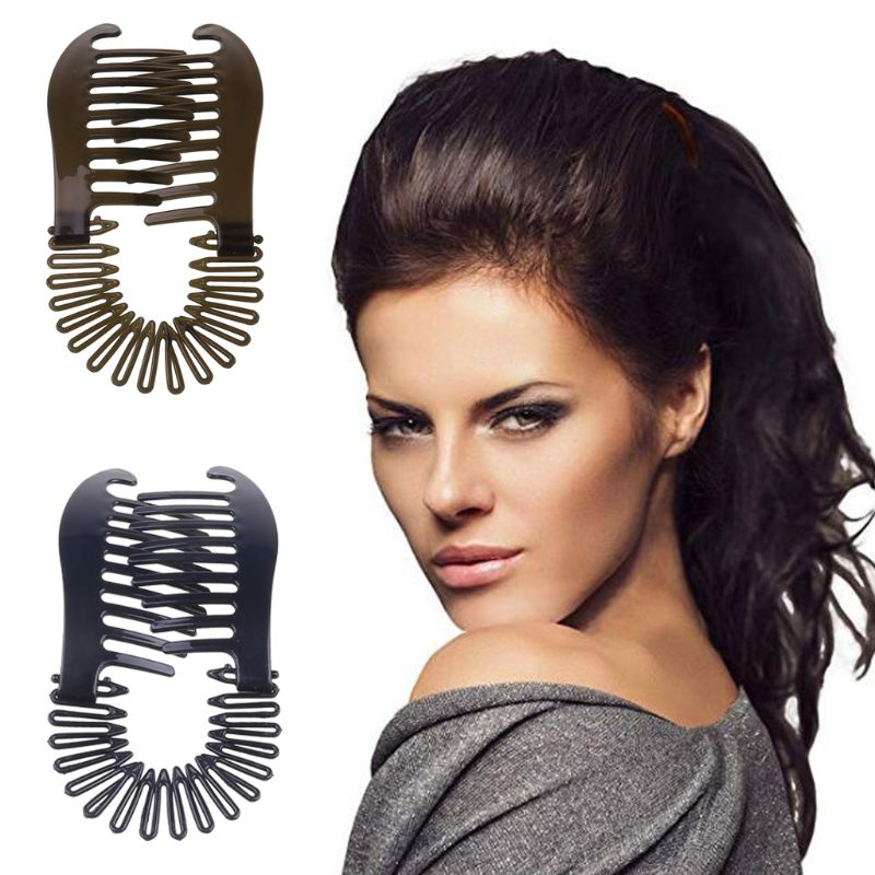 2pcs/set Women Hollywood Large Comb Banana Clip Hair Riser Claw Hair Accessory 2 Colors
