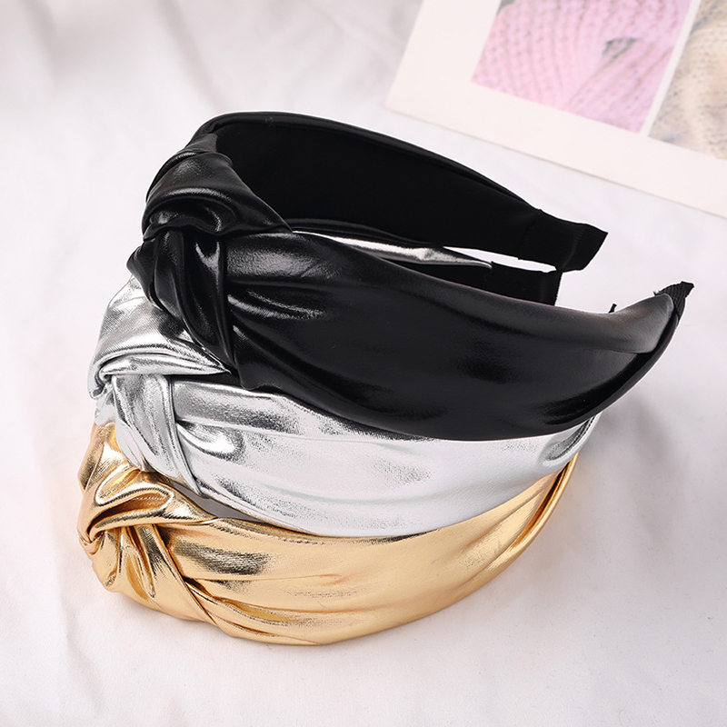 Korean Trendy Bright Color PU Leather Girls Hairbands Middle Knotted Headbands Fashion Headband Head Hoop Women Hair Accessories