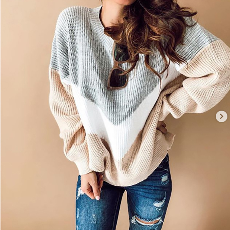 Patchwork Plus Size Wool Sweater Autumn Winter Warm Full Sleeve Pullovers Sweater Female Casual Loose Striped Top Knit Sweaters