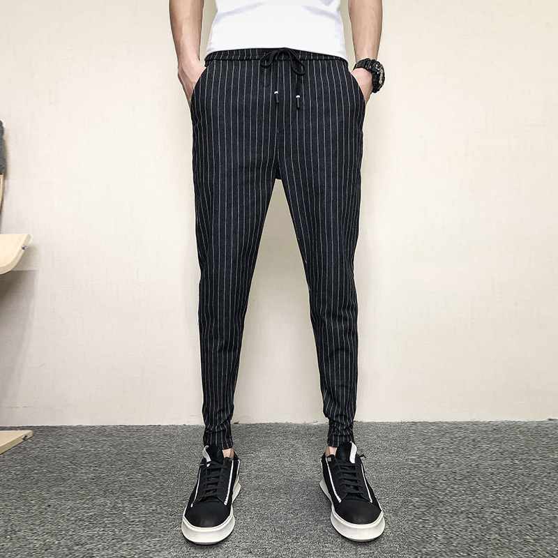 Autumn Clothing Casual Pants 2019 Teenager Korean-style Trend Slim Fit Capri Pants Men Stripes Versatile Skinny Pants