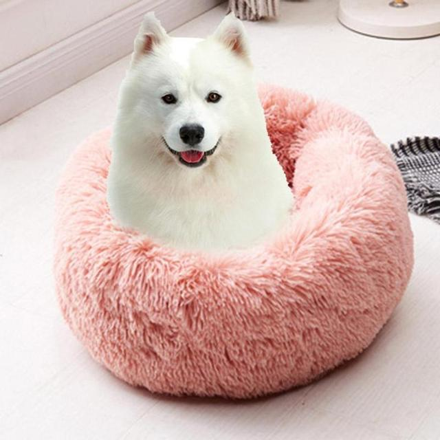 Soft Long Plush Pet Bed Cat Bed House Round Pet Dog Bed For Small Dogs Cats Nest Winter Warm Sleeping Bed Puppy Mat 4