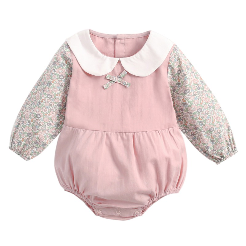 Fresh Floral Baby Girls Clothes Cotton Long Sleeve Newborns Baby Bodysuits Shirt Collar Kids Jumpsuit Infant Clothing