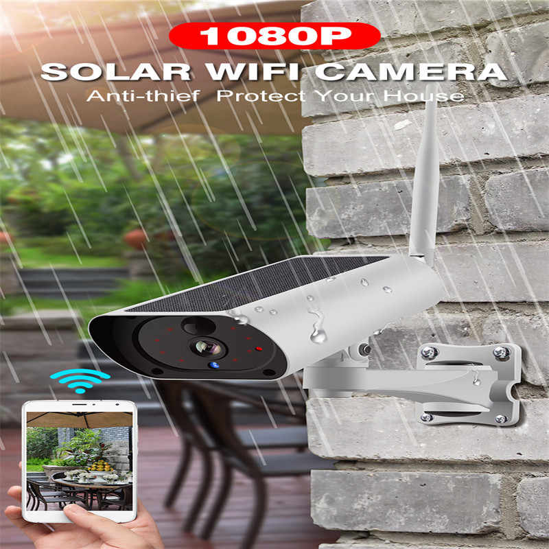 Wireless Security Camera WiFi Solar Rechargeable Battery IP Camera 1080P HD Outdoor Surveillance CCTV Camera PIR Motion Sensor