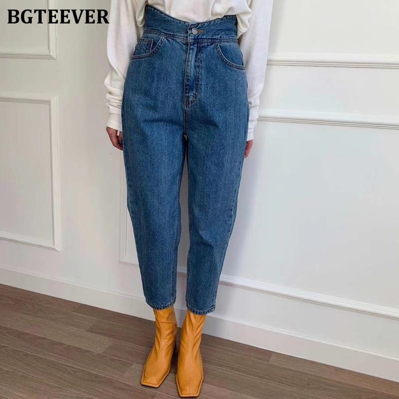 BGTEEVER Women High Waist Harem Jeans Spring Loose Female Denim Jeans Pants Streetwear Ladies Zipper Blue Denim Trousers  2020