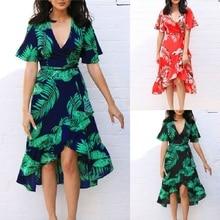 Irregular Hem Chiffon Summer Dress Women Leaf Print Flare-Sleeve Beach Dress random stars print dip hem cocoon dress