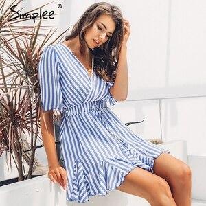 Image 3 - Simplee Vintage rayé femmes robe col en V à volants coton robe courte dété grande taille Sexy décontracté dame femme vestido festa 2019