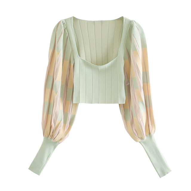 Fashion Women Vintage Knitted Pleated Blouses 2020 Long Lantern Sleeve Square Collar Casual Shirts Stripe Clothes 1