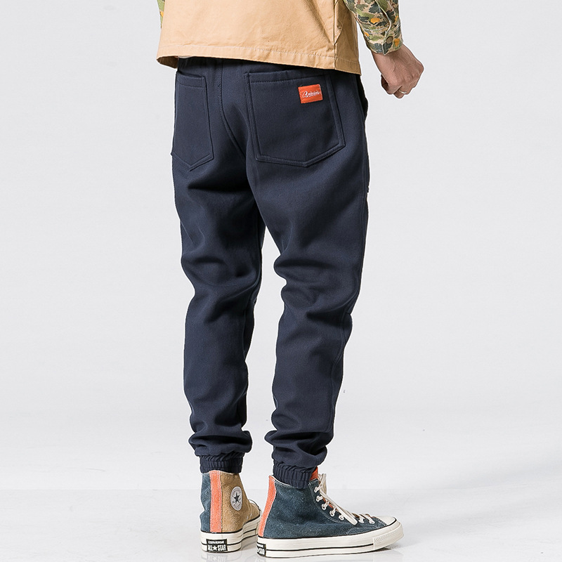 Bib Overall Men's Pants With Velvet Sub-Men's Korean-style Popular Brand Loose-Fit Men's Casual Pants Autumn And Winter Skinny P