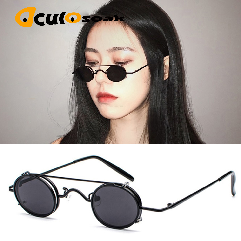 Small Oval Sunglasses Women Retro Vintage 2019 Metal Frame Silver Gold Black Punk Clip On Sun Glasses For Men Gift
