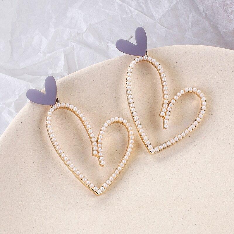 AENSOA Korean Luxury Pearl Drop Earrings For Women Big Long Heart Pearl Statement Dangle Wedding Earring Simple Party Jewelry