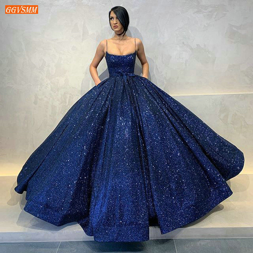 Fashion Royal Blue Long Evening Dresses 2020 Puffy Spaghetti Strap Pockets Evening Gowns Arabic Dubai Women Formal Party Dress