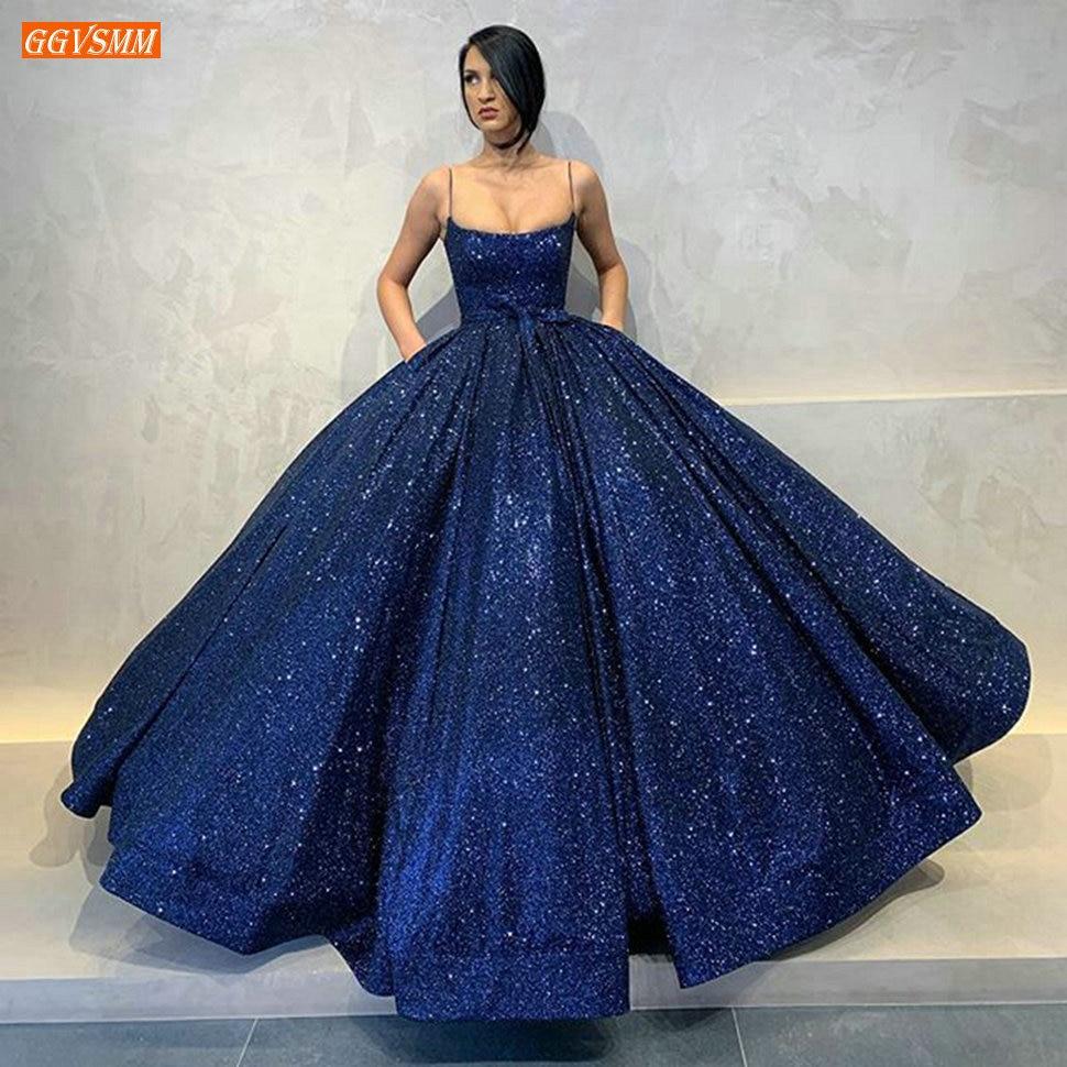 Mode bleu Royal robes de soirée longues 2020 bouffantes Spaghetti sangle poches robes de soirée arabe dubaï femmes robe de soirée formelle