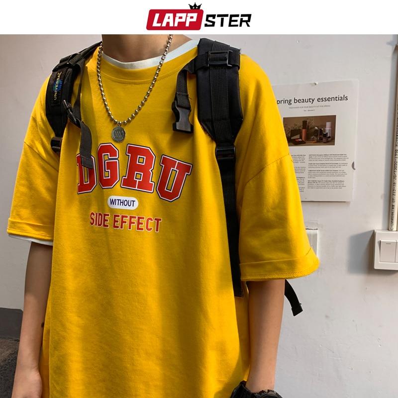LAPPSTER Men Japanese Streetwear Yellow T Shirt 2020 Summer Mens Harajuku Hip Hop T Shirts Couple Korean Casual Tees T-shirts