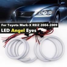 6Pcs Baumwolle weiß LED angel eyes halo ring kit daytiem tagfahrlicht DRL Für Toyota Mark X Mark X REIZ 2004 2009