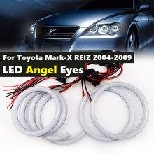 6Pcs כותנה לבן LED מלאך עיני halo טבעת ערכת daytiem הריצה DRL לטויוטה מארק X סימן X רייז 2004 2009