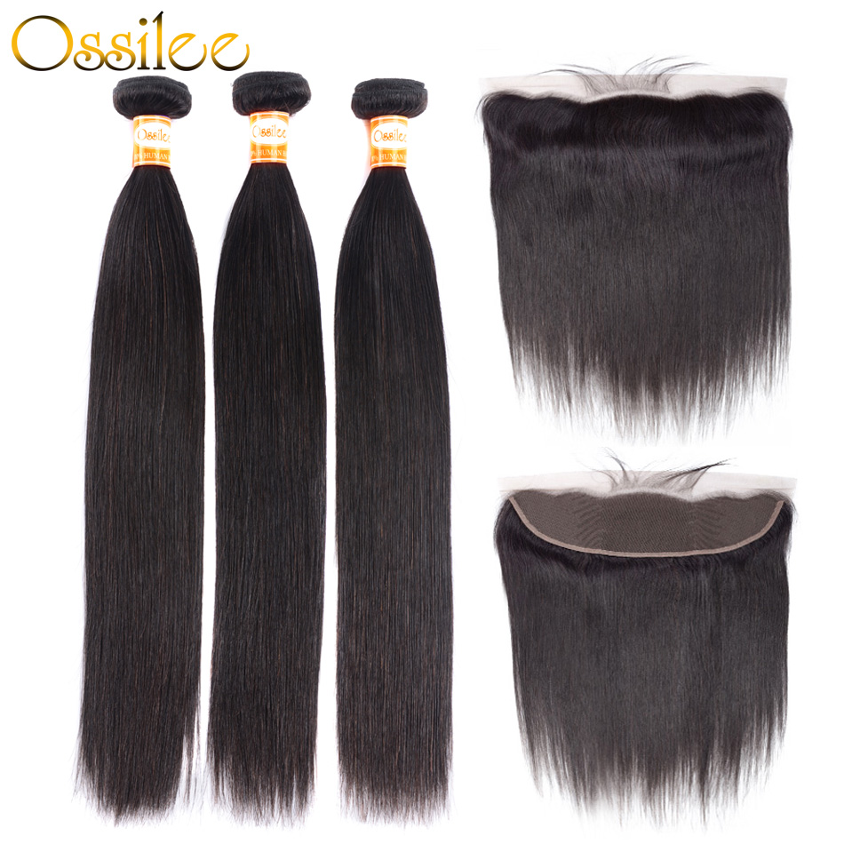 Ossilee Bundles With Frontal Straight Hair Bundles With Frontal Brazilian Human Hair Bundles With Closure Remy Middle Ratio