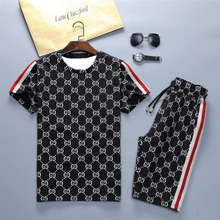 2021 new men's sports suit 3D printed casual O collar breathable summer T-shirt + running shorts running suit fitness fashion me