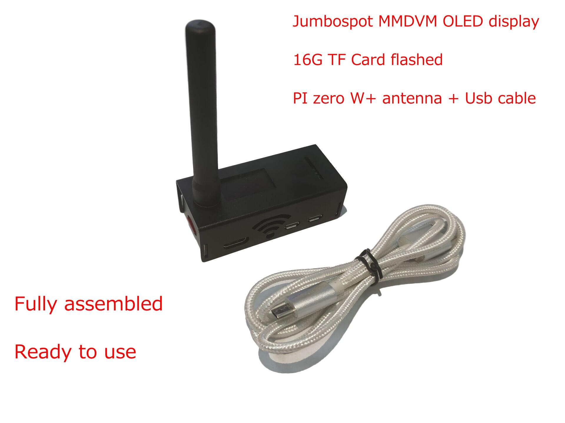Assembled JUMBOSPOT MMDVM Hotspot QSO Support P25 DSTAR DMR YSF NXDN + Raspberry Pi Zero W +OLED +Antenna + 16G SD Card + Case