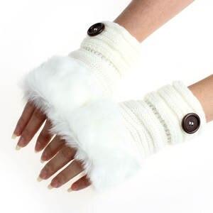 1 Pair Women Warm Gloves Winter Glove Sexy Faux soft Rabbit Fur Hand Wrist Warmer Half Fingerless Mittens Gloves#50