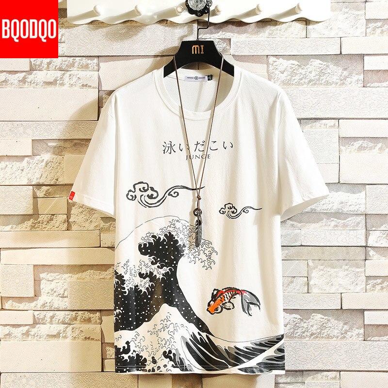 Мужская футболка в стиле хип хоп, хлопковая Футболка большого размера с забавным аниме принтом и о вырезом, летние японские мужские повседневные футболки 5XL, Модные свободные футболки Футболки      АлиЭкспресс