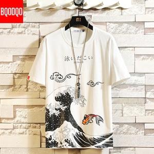 Funny Anime Print Oversized Men T Shirt Hip-Hop Cotton T-shirt O-neck Summer Japanese Male Causal Tshirts 5XL Fashion Loose Tees(China)