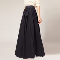 Vintage Black Maxi Skirt for Women High Waist Pleated Floor Length A Line Formal Skirt Faldas Saia Custom Made Cheap