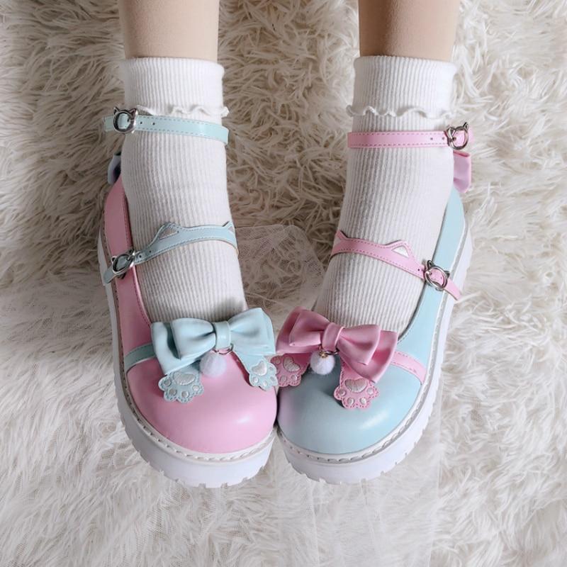 Sweet Girls Anime Cosplay Lolita Shoes Jk Platform Big Size 41 Japanese Anime Cat Paw Design Harujuku Kawaii Cute Women Shoes