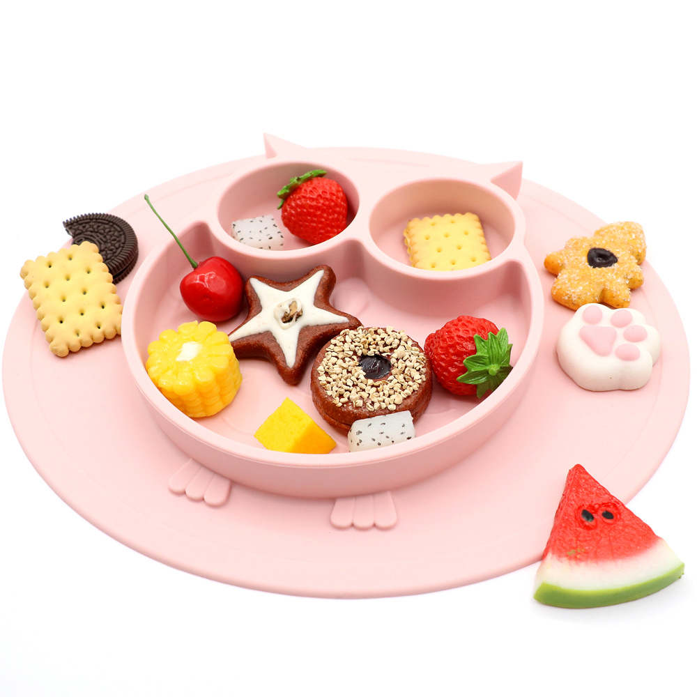 New Spot Owl Style Cartoon-in-one Silica Gel Children's Dinner Plate With Non-Slip And Subsidiary Kids Plate