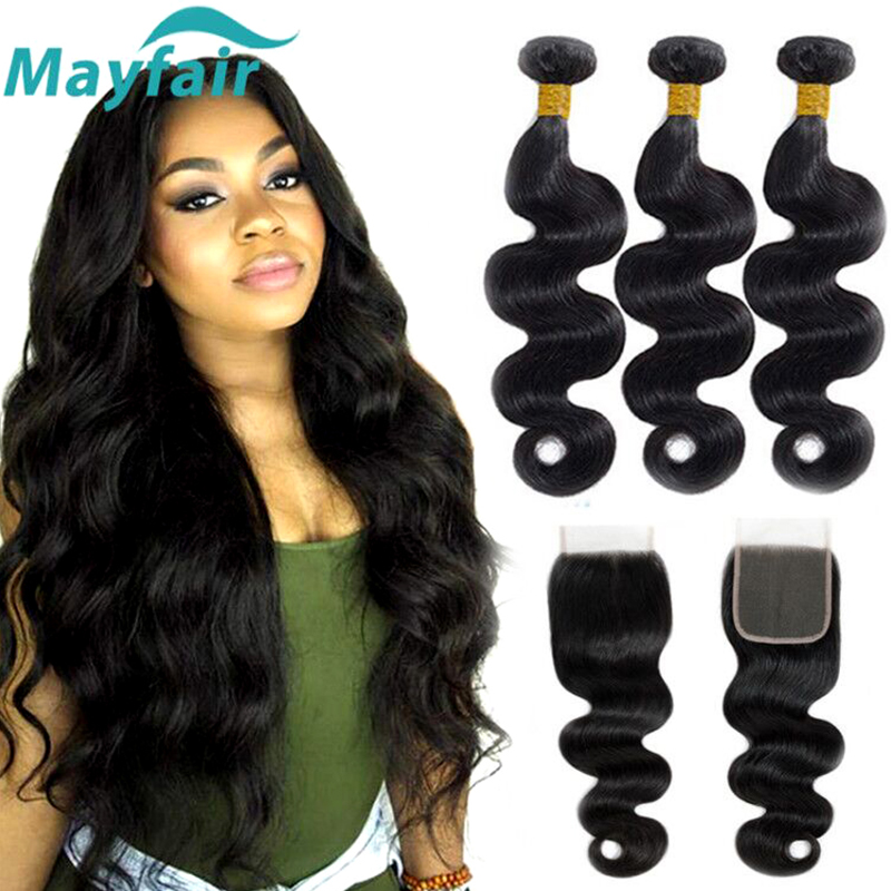 Mayfair Body Wave Bundles With Closure Brazillian Hair Bundles With Closure Non Remy Human Hair Bundles With Closure